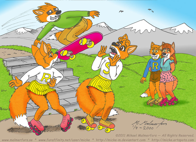 Pic 85 - How to use your skateboard to annoy a couple of foxgirls!